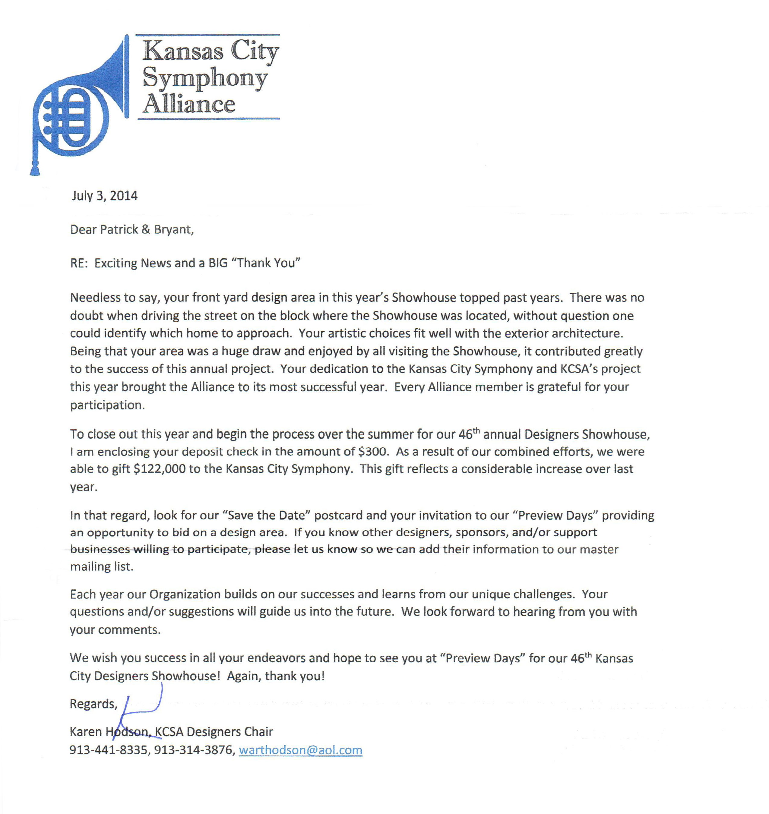 Kansas City Symphony Alliance Thank You Letter